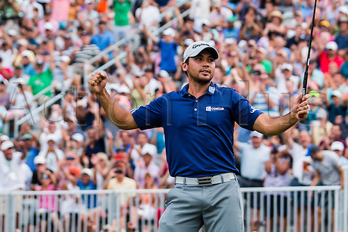 August 30, 2015: Jason Day celebrates after sinking a birdie putt at 18, to win The Barclays with a -19 at Plainfield Country Club in Edison, NJ.