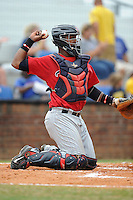Catcher Brian Navarreto (24) of the Elizabethton Twins in a game against the Johnson City Cardinals on Sunday, July 27, 2014, at Howard Johnson Field at Cardinal Park in Johnson City, Tennessee. The game was suspended due to weather in the fifth inning. (Tom Priddy/Four Seam Images)
