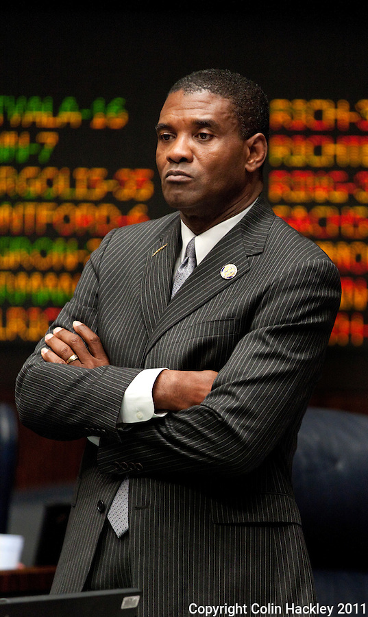 TALLAHASSEE, FLA. 5/6/11-SESSIONEND050611 CH-Sen. Tony Hill, D-Jacksonville, reacts to the increase in nursing home staffing ratios as that is announced during the last day of the regularly scheduled session, Friday at the Capitol in Tallahassee..COLIN HACKLEY PHOTO