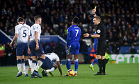 Leicester City's Demarai Gray is shown a yellow card by referee Craig Pawson<br /> <br /> Photographer Hannah Fountain/CameraSport<br /> <br /> The Premier League - Leicester City v Tottenham Hotspur - Saturday 8th December 2018 - King Power Stadium - Leicester<br /> <br /> World Copyright © 2018 CameraSport. All rights reserved. 43 Linden Ave. Countesthorpe. Leicester. England. LE8 5PG - Tel: +44 (0) 116 277 4147 - admin@camerasport.com - www.camerasport.com