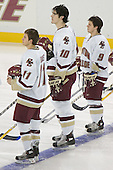 Joe Adams, Brian Boyle, Nathan Gerbe  The Boston College Eagles defeated the Providence College Friars 3-2 in regulation on October 29, 2005 at Kelley Rink in Conte Forum in Chestnut Hill, MA.  It was BC's first Hockey East win of the season and Providence's first HE loss.