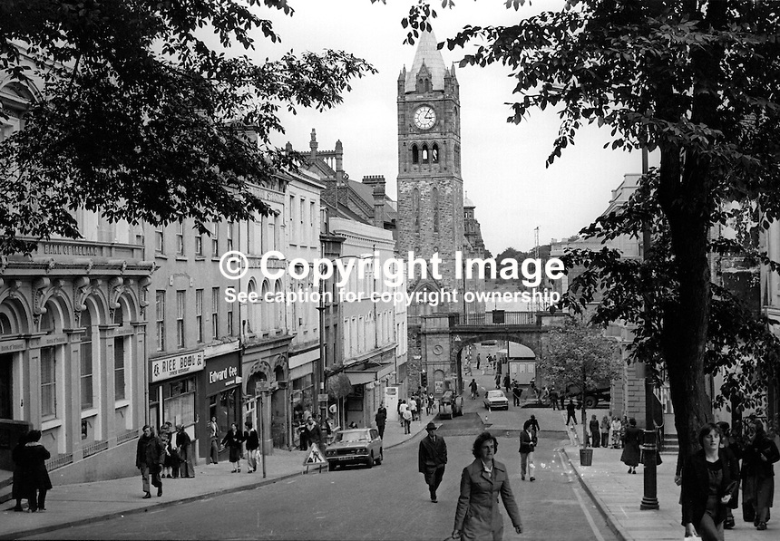 Shipquay Street, Londonderry, N Ireland, looking towards Shipquay Gate & the Guildhall with its clock. 197803000112b..Copyright Image from Victor Patterson, 54 Dorchester Park, Belfast, United Kingdom, UK...For my Terms and Conditions of Use go to http://www.victorpatterson.com/Victor_Patterson/Terms_%26_Conditions.html