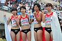 (L to R) Saori Imai (JPN), Chisato Fukushima (JPN), Momoko Takahashi (JPN), Nao Okabe (JPN),..JULY 10, 2011 - Athletics :The 19th Asian Athletics Championships Hyogo/Kobe, Women's 4x100m Relay Final at Kobe Sports Park Stadium, Hyogo ,Japan. (Photo by Jun Tsukida/AFLO SPORT) [0003]