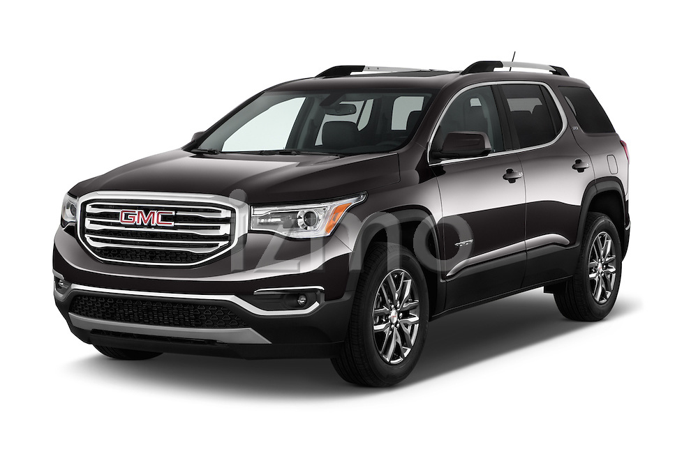 2017 GMC Acadia SLT-1-FWD 5 Door SUV Angular Front stock photos of front three quarter view