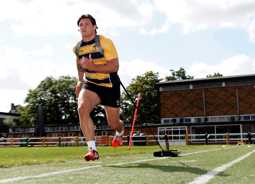 Photo: Richard Lane/Richard Lane Photography. Wasps Pre Season Training. 04/08//2015. Wasps' Guy Thompson.