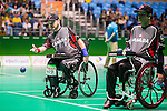 RIO DE JANEIRO - 10/9/2016:  The Canadian team of Iulian Ciobanu, Marco Dispaltro and Alison Levine takes on Thailand in mixed pairs BC4 boccia preliminaries at Carioca 2 arena during the Rio 2016 Paralympic Games. (Photo by Dave Holland/Canadian Paralympic Committee)