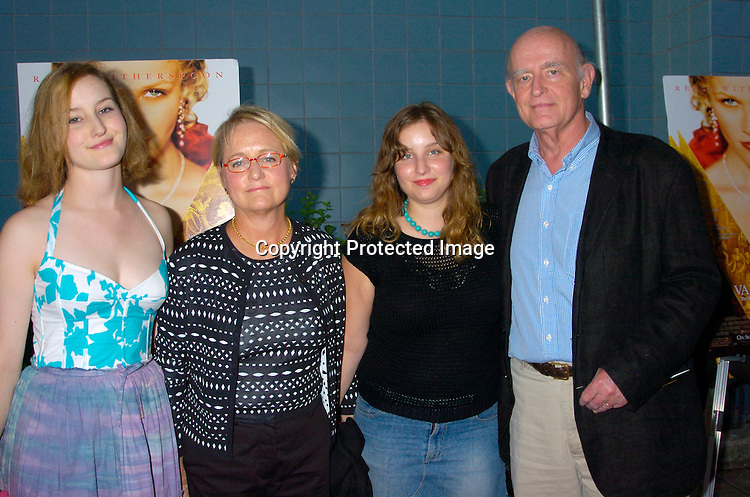 "Peter Boyle and daughter Lucy, Wife Loraine and daughter Amy ..at The New York Screening of ""Vanity Fair"" starring ..Reese Witherspoon, Romola Garai and James Purefoy ..at the Clearview Chelsea West on August 16, 2004...Photo by Robin Platzer, Twin Images"