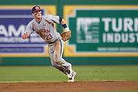 Auburn Tigers second baseman Jordan Ebert #23 on defense against the LSU Tigers in the NCAA baseball game on March 22nd, 2013 at Alex Box Stadium in Baton Rouge, Louisiana. LSU defeated Auburn 9-4. (Andrew Woolley/Four Seam Images).