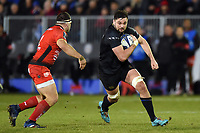 Elliott Stooke of Bath Rugby in possession. European Rugby Champions Cup match, between Bath Rugby and RC Toulon on December 16, 2017 at the Recreation Ground in Bath, England. Photo by: Patrick Khachfe / Onside Images
