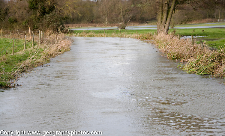 River Deben under bankful conditions at Ufford, Suffolk, England