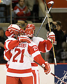 Ryan Ruikka (BU - 2), Sean Escobedo (BU - 21) - The Boston University Terriers defeated the visiting Providence College Friars 2-1 on Saturday, October 23, 2010, at Agganis Arena in Boston, Massachusetts.