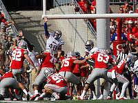 Ohio State Buckeyes place kicker Tyler Durbin (92) kicks a field goal in the second quarter of an NCAA football game between the Ohio State Buckeyes and the Tulsa Golden Hurricane at Ohio Stadium on Saturday, September 10, 2016. (Columbus Dispatch photo by Fred Squillante)