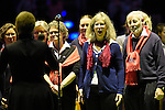 Berlin, Germany, February 01: Chorus of Berlin HC performs the national anthem of Germany before the 1. Bundesliga Damen Hallensaison 2014/15 final hockey match between Duesseldorfer HC (white) and HTC Uhlenhorst Muehlheim (green) on February 1, 2015 at the Final Four tournament at Max-Schmeling-Halle in Berlin, Germany. Final score 4-1 (1-0). (Photo by Dirk Markgraf / www.265-images.com) *** Local caption ***