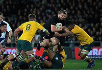 Dane Coles leaps through a tackle during the Rugby Championship and Bledisloe Cup rugby match between the New Zealand All Blacks and Australia Wallabies at Forsyth Barr Stadium in Dunedin, New Zealand on Saturday, 26 August 2017. Photo: Dave Lintott / lintottphoto.co.nz