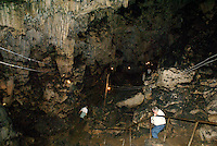 Tourists exploring Grutas de Lanquin caves, Alta Verapaz, Guatemala.