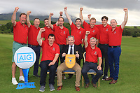 The Westport Team after winning the Junior Cup in the AIG Cups & Shields Connacht Finals 2019 in Westport Golf Club, Westport, Co. Mayo on Thursday 8th August 2019.<br /> <br /> Picture:  Thos Caffrey / www.golffile.ie<br /> <br /> All photos usage must carry mandatory copyright credit (© Golffile | Thos Caffrey)