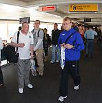 Steven Naismith walks past Celtic fans heading to Tel Aviv as he heads for Stuttgart with Rangers
