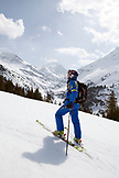 AUSTRIA, St. Anton am Arlberg, Mountain guide nick named Naggi skiing mountains surrounding St.Anton