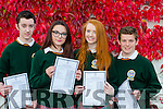 Kieran Galvin, Eleanor Joy, Keavy Golden and Shane Ahern who were delighted to finally get their Junior Cert results in Killorglin Community College on Wednesday