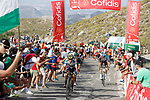 Esteban Chaves (COL) Orica-Scott, Romain Bardet (FRA) AG2R and Richard Antonio Carapaz (ECU) Movistar on the final climb during Stage 14 of the 2017 La Vuelta, running 175km from &Eacute;cija to Sierra de La Pandera, Spain. 2nd September 2017.<br /> Picture: Unipublic/&copy;photogomezsport | Cyclefile<br /> <br /> <br /> All photos usage must carry mandatory copyright credit (&copy; Cyclefile | Unipublic/&copy;photogomezsport)