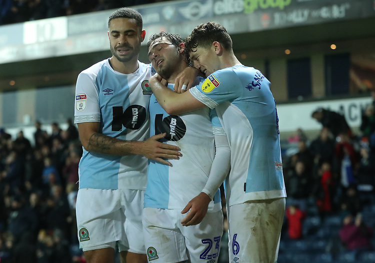 Blackburn Rovers' Derrick Williams, Blackburn Rovers' Bradley Dack and Blackburn Rovers' Richard Smallwood<br /> <br /> Photographer Rachel Holborn/CameraSport<br /> <br /> The EFL Sky Bet Championship - Blackburn Rovers v Sheffield Wednesday - Saturday 1st December 2018 - Ewood Park - Blackburn<br /> <br /> World Copyright &copy; 2018 CameraSport. All rights reserved. 43 Linden Ave. Countesthorpe. Leicester. England. LE8 5PG - Tel: +44 (0) 116 277 4147 - admin@camerasport.com - www.camerasport.com