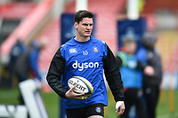 Freddie Burns of Bath Rugby looks on during the pre-match warm-up. Anglo-Welsh Cup Final, between Bath Rugby and Exeter Chiefs on March 30, 2018 at Kingsholm Stadium in Gloucester, England. Photo by: Patrick Khachfe / Onside Images