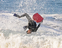 Boogie Boarding Waves in Newport Beach