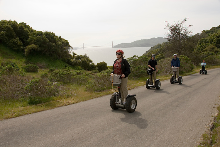 People on Segways on Angel Island in San Francisco Bay, California, CA..Photo camari228-70421..Photo copyright Lee Foster, www.fostertravel.com, 510-549-2202, lee@fostertravel.com
