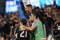 SAN JOSE, CA - SEPTEMBER 25: Jackson Yueill #14 of the San Jose Earthquakes celebrates scoring with teammates during a Major League Soccer (MLS) match between the San Jose Earthquakes and the Philadelphia Union on September 25, 2019 at Avaya Stadium in San Jose, California.