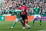 13.04.2019, Weserstadion, Bremen, GER, 1.FBL, Werder Bremen vs SC Freiburg<br /> <br /> DFL REGULATIONS PROHIBIT ANY USE OF PHOTOGRAPHS AS IMAGE SEQUENCES AND/OR QUASI-VIDEO.<br /> <br /> im Bild / picture shows<br /> Milot Rashica (Werder Bremen #11) im Duell / im Zweikampf mit Nico Schlotterbeck (SC Freiburg #49), <br /> <br /> Foto © nordphoto / Ewert