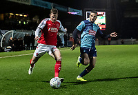 Fleetwood Town's Paul Coutts crosses under pressure from Wycombe Wanderers' Nick Freeman (right) <br /> <br /> Photographer Andrew Kearns/CameraSport<br /> <br /> The EFL Sky Bet League One - Wycombe Wanderers v Fleetwood Town - Tuesday 11th February 2020 - Adams Park - Wycombe<br /> <br /> World Copyright © 2020 CameraSport. All rights reserved. 43 Linden Ave. Countesthorpe. Leicester. England. LE8 5PG - Tel: +44 (0) 116 277 4147 - admin@camerasport.com - www.camerasport.com
