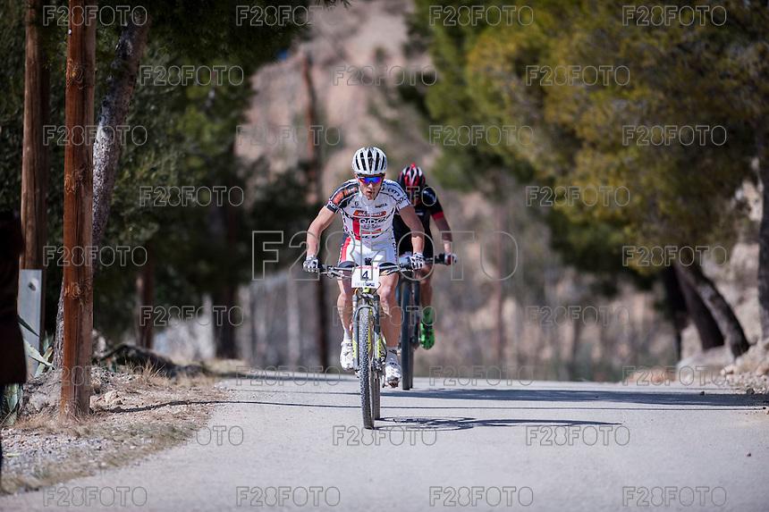 Chelva, SPAIN - MARCH 6: Hugo Drechou during Spanish Open BTT XCO on March 6, 2016 in Chelva, Spain