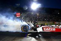 Jul. 18, 2014; Morrison, CO, USA; NHRA top fuel driver Steve Torrence during qualifying for the Mile High Nationals at Bandimere Speedway. Mandatory Credit: Mark J. Rebilas-