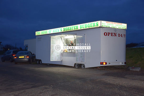 Mobile burger bar at night, Portsmouth UK