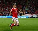 Ben Woodburn of Wales celebrates scoring the winning goal during the World Cup Qualifying Group D match at the Cardiff City Stadium, Cardiff. Picture date 2nd September 2017. Picture credit should read: Simon Bellis/Sportimage