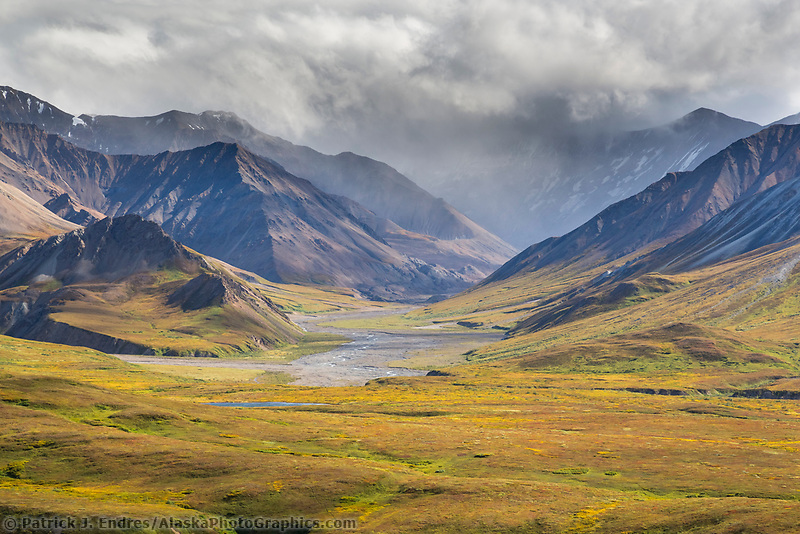 Sun pours over the mountains behind Gorge creek in Denali National Park, Alaska.