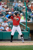Rochester Red Wings second baseman Tommy Field (9) bats during a game against the Columbus Clippers on August 9, 2017 at Frontier Field in Rochester, New York.  Rochester defeated Columbus 12-3.  (Mike Janes/Four Seam Images)