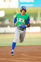 Mark Threlkeld (26) of the Lexington Legends rounds the bases after hitting a home run against the Kannapolis Intimidators at CMC-Northeast Stadium on July 29, 2013 in Kannapolis, North Carolina.  The Intimidators defeated the Legends 10-5.  (Brian Westerholt/Four Seam Images)