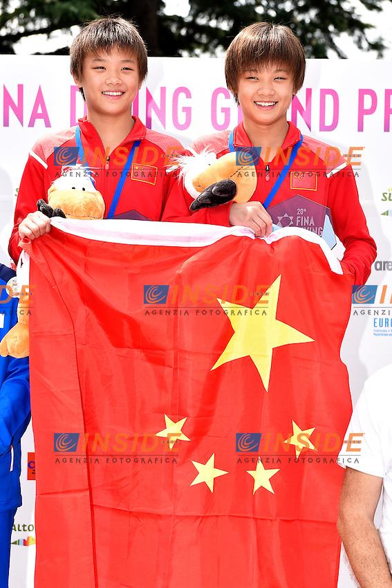 YU Jie Xia, BING QING Xia CHN <br /> Synchronized Platform Women Final - Piattafroma 10m Sincro Donne Finale <br /> Bolzano 03-08-2014 <br /> 20 Fina Diving Grand Prix <br /> Photo Andrea Staccioli/Insidefoto