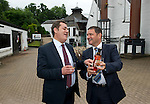 St Johnstone FC Chairman Steve Brown (right) presents a bottle of the specially labelled 'The Famous Eskieshir' whisky to Halil Unal President of Eskieshirspor who St Johnstone are playing in Uefa Cup Qualifyer. They are pictured at The Famous Grouse Experience in Crieff where the Turkish guests were given a guided tour ahead of tonight's match at McDiarmid Park....26.07.12.Picture by Graeme Hart..Copyright Perthshire Picture Agency.Tel: 01738 623350  Mobile: 07990 594431