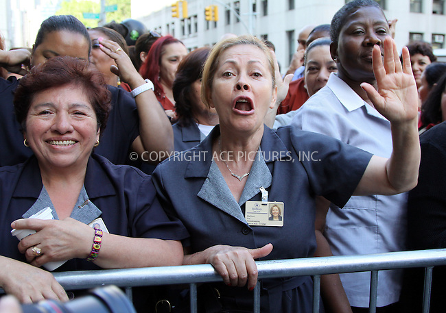 WWW.ACEPIXS.COM . . . . .  ....June 6 2011, New York City....Hotel maids demonstrate outside the Dominique Strauss-Kahn arraignment hearing outside the Manhattan criminal court on June 6, 2011 in New York City.....Please byline: CURTIS MEANS - ACE PICTURES.... *** ***..Ace Pictures, Inc:  ..Philip Vaughan (212) 243-8787 or (646) 679 0430..e-mail: info@acepixs.com..web: http://www.acepixs.com