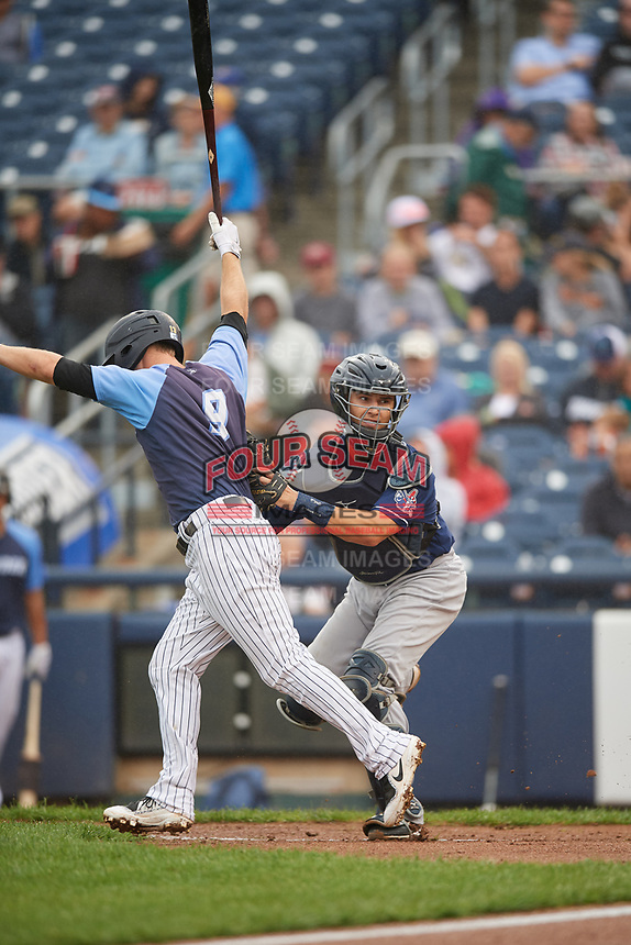 New Hampshire Fisher Cats catcher Max Pentecost (7) tags out Bruce Caldwell (9) on a check swing dropped called third strike during a game against the Trenton Thunder on August 19, 2018 at ARM & HAMMER Park in Trenton, New Jersey.  New Hampshire defeated Trenton 12-1.  (Mike Janes/Four Seam Images)
