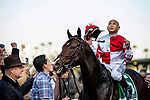 DEC 28: Mike Smith celebrates becoming the all time g1 winning jockey after the Malibu Stakes on Omaha Beach at Santa Anita Park in Arcadia, California on December 28, 2019. Evers/Eclipse Sportswire/CSM