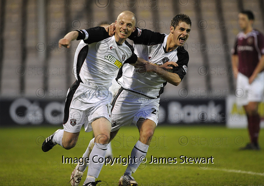 13/05/2008   Copyright Pic: James Stewart.File Name : sct_jspa14_gretna_v_hearts.GAVIN SKELTON CELEBRATES WITH NICKY DEVERDICS AFTER HE SCORES GRETNA'S GOAL.James Stewart Photo Agency 19 Carronlea Drive, Falkirk. FK2 8DN      Vat Reg No. 607 6932 25.Studio      : +44 (0)1324 611191 .Mobile      : +44 (0)7721 416997.E-mail  :  jim@jspa.co.uk.If you require further information then contact Jim Stewart on any of the numbers above........