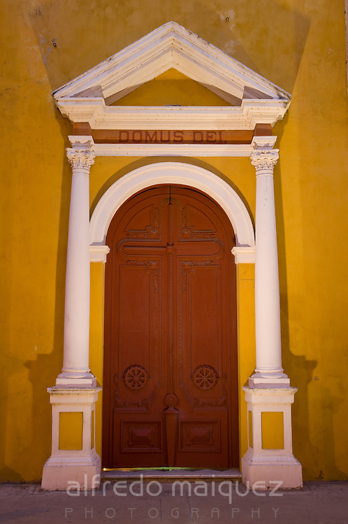 The Cathedral of Cartagena, Main facade side door <br /> (1577), Cartagena<br />  de Indias, Bolivar Department,, Colombia,<br />  South America. 2008