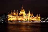 Budapest at night Parliament building