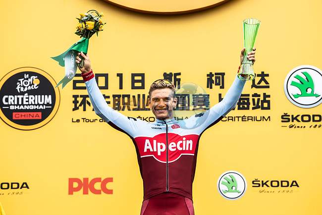 Marcel Kittel (GER) Team Katusha Alpecin wins the intermediate sprints prize on the podium at the end of the 2018 Shanghai Criterium, Shanghai, China. 17th November 2018.<br /> Picture: ASO/Alex Broadway | Cyclefile<br /> <br /> <br /> All photos usage must carry mandatory copyright credit (&copy; Cyclefile | ASO/Alex Broadway)