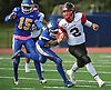 Dan Villari #2, Plainedge quarterback, right, runs for a first down during a Nassau County Conference III varsity football game against host Roosevelt High School on Saturday, Oct. 13, 2018.