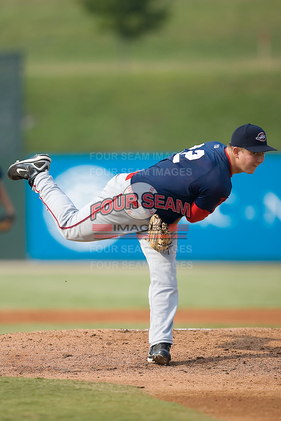 Starting pitcher Brock Huntzinger (31) of the Greenville Drive in action at Fieldcrest Cannon Stadium in Kannapolis, NC, Sunday August 10, 2008. (Photo by Brian Westerholt / Four Seam Images)