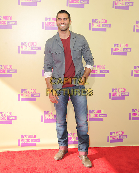 Tyler Hoechlin.The 2012 MTV Video Music Awards held at Staples Center in Los Angeles, California, USA..September 6th, 2012.VMA's VMAS VMA full length jeans denim grey gray ref top stubble facial hair .CAP/RKE/DVS.©DVS/RockinExposures/Capital Pictures.